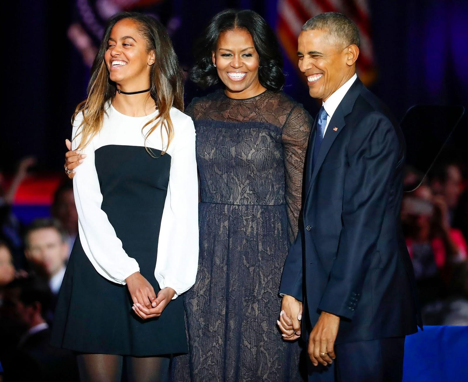 malia obama with barak Obama;s wife