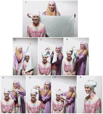 Tutorial Hijab Pashmina Sifon Panjang Motif Polos Model Turban yang Simple ala Dian Pelangi