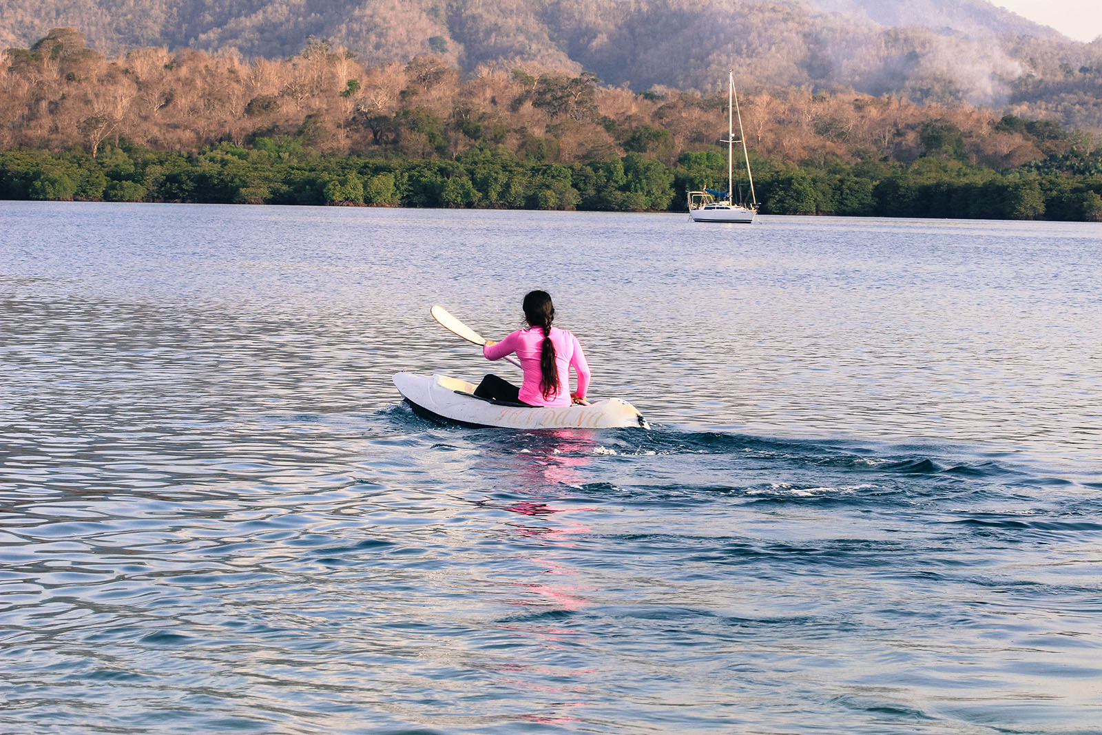 canoeing sport at beautiful coast
