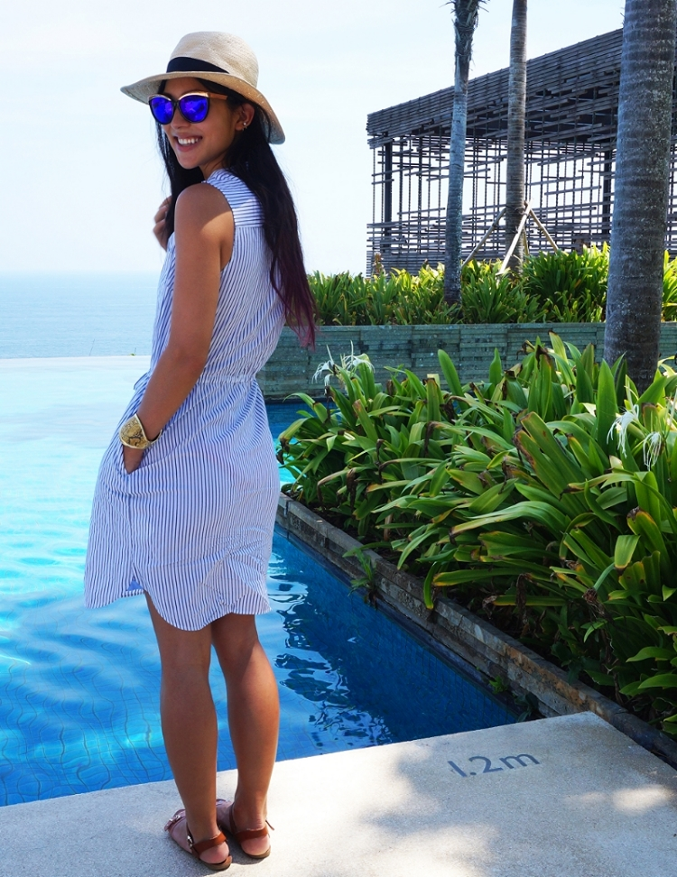 Euriental | fashion & luxury travel | Banana Republic striped dress at Alila Uluwatu