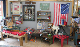 rustic items used to create a vintage camp and cabin display