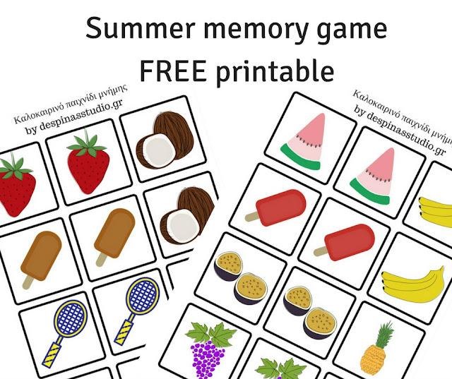 Καλοκαιρινό παιχνίδι μνήμης με κάρτες ΔΩΡΕΑΝ εκτυπώσιμο