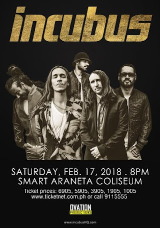 Incubus to perform Live in Manila 2018 at the Smart Araneta Coliseum
