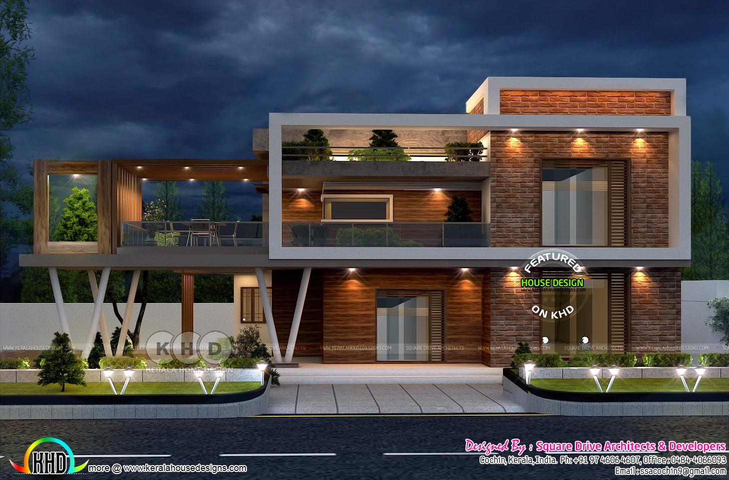Stunning Ultra Modern Box Model House Plan Kerala Home