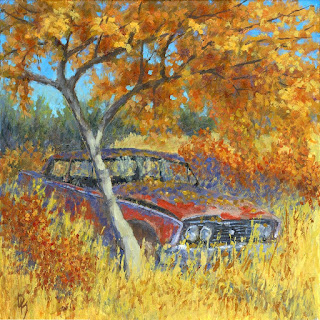 art painting car abandoned ford starliner autumn landscape
