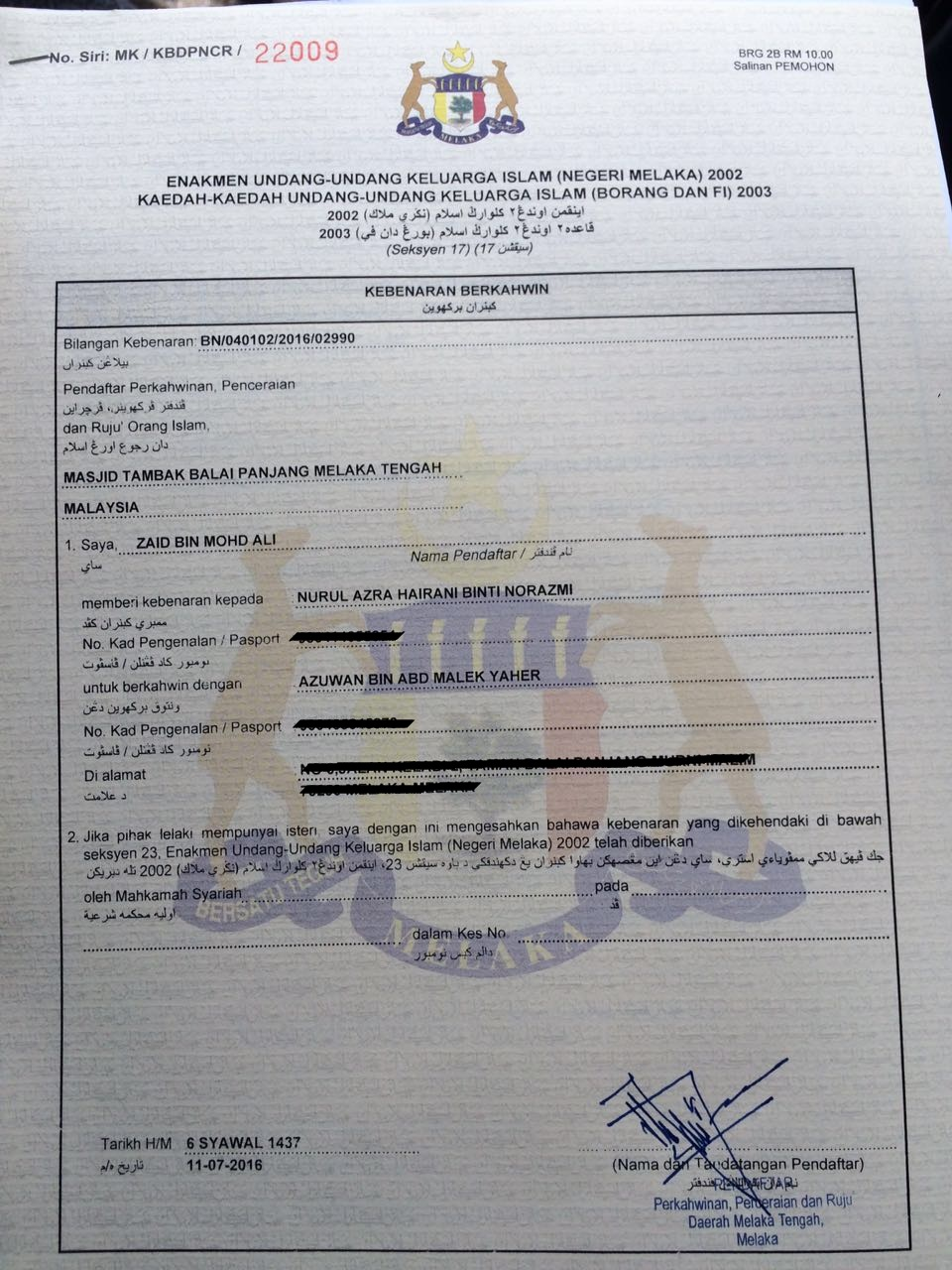 Azra Hairani Daftar Nikah Online 2016