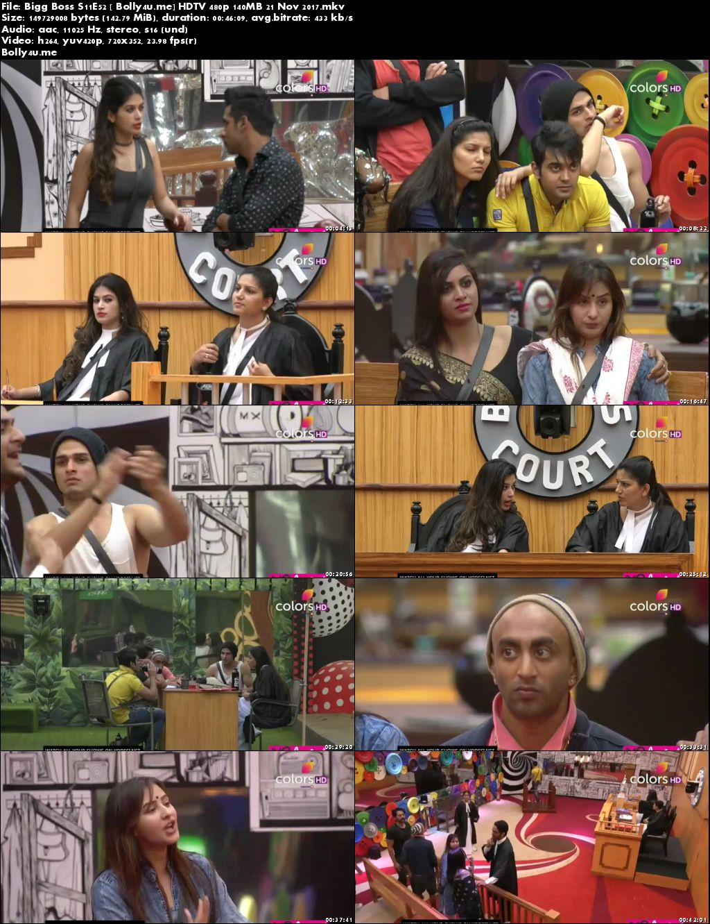 Bigg Boss S11E52 HDTV 480p 140MB 21 November 2017 Download