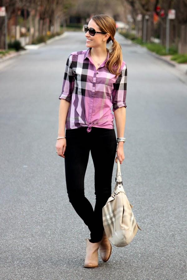 Purple Burberry shirt similar to Kate Beckett's on Castle