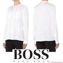 Queen Letizia Style HUGO BOSS Blouse and HUGO BOSS Skirt and PRADA Pumps