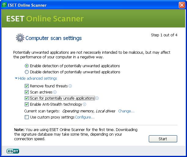 Configuration Eset Online Scanner
