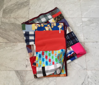 Cozy fleece patchwork blanket for car Craftrebella