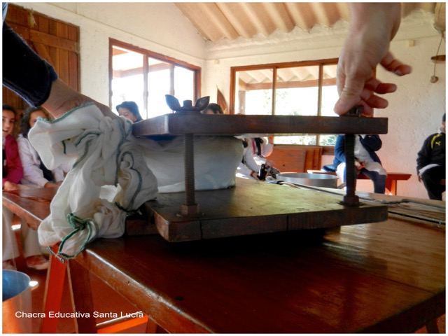 Usando la prensa para escurrir la pasta - Chacra Educativa Santa Lucía