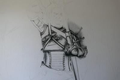 Malowanie obrazu na ścianie, motyw z gry Wiedźmin