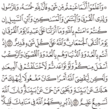 Tafsir Surat Al-Anfal Ayat 41, 42, 43, 44, 45
