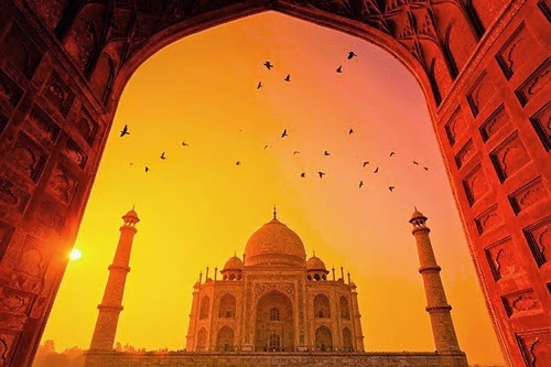 taj mahal sunset - Los jardines del Taj Majal y los alineamientos solares