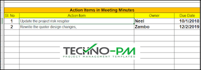 Action Items in Minutes, action item tracker