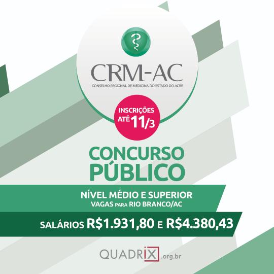 CRMAC abre concurso para preencher 06 vagas: Edital 2019