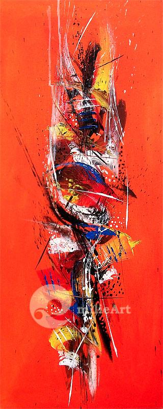 lukisan abstrak modern orange
