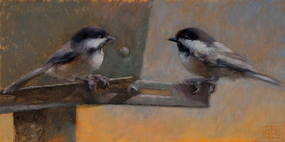 A painting of two black capped chickadees on a bird feeder, oil on panel ©Shannon Reynolds
