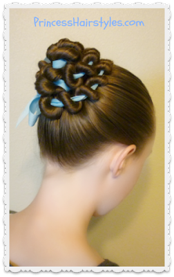 Ribbon coild bun hair tutorial