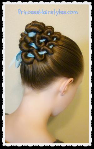 ribbon coiled bun hairstyle tutorial