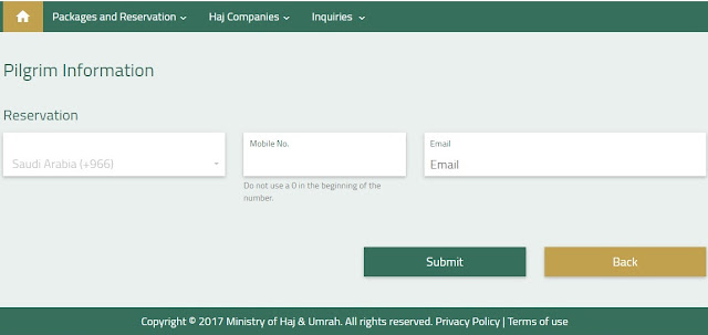 CONFIRM MOBILE AND EMAIL FOR HAJJ REGISTRATION