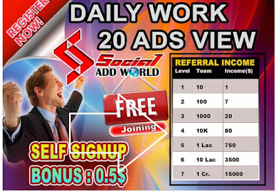 earn daily with ads with socialaddworld hindi english