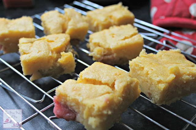 Rhubarb and custard tray bake recipe