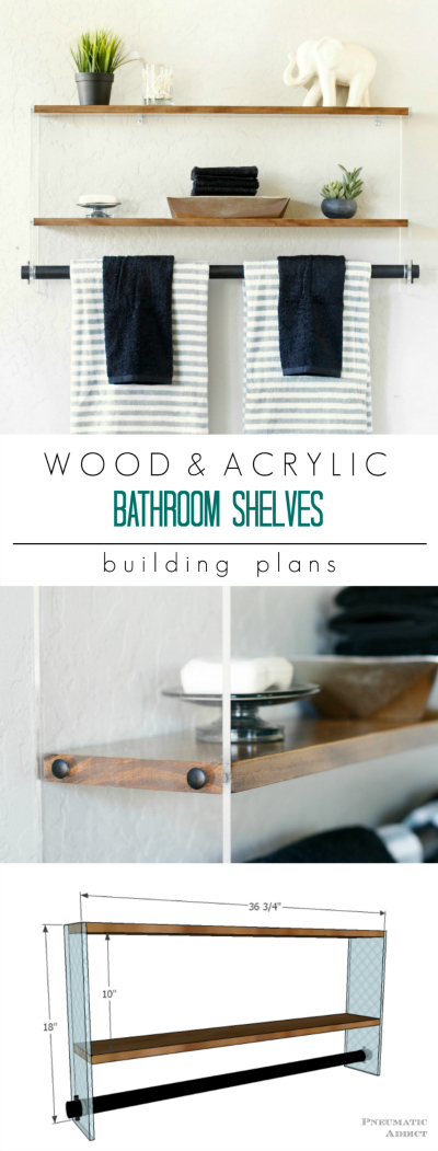 Free building plans Build an acrylic and wood floating shelf and towel bar