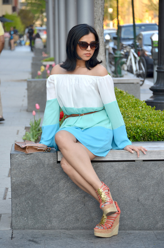 Off The Shoulder Color Block Dress-MariEstilo- Vestido Color Block- Vestido hombros descubiertos- Plataformas anaranjadas- Plaformas- Fashion Blogger- ArmandHugon