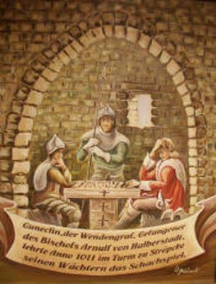 Gunzelin, prisionero, jugando al ajedrez, cuadro de W. Plaisant