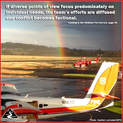 If diverse points of view focus predominately on individual needs, the team's efforts are diffused and conflict becomes factional. –Leading in the Wildland Fire Service, page 56