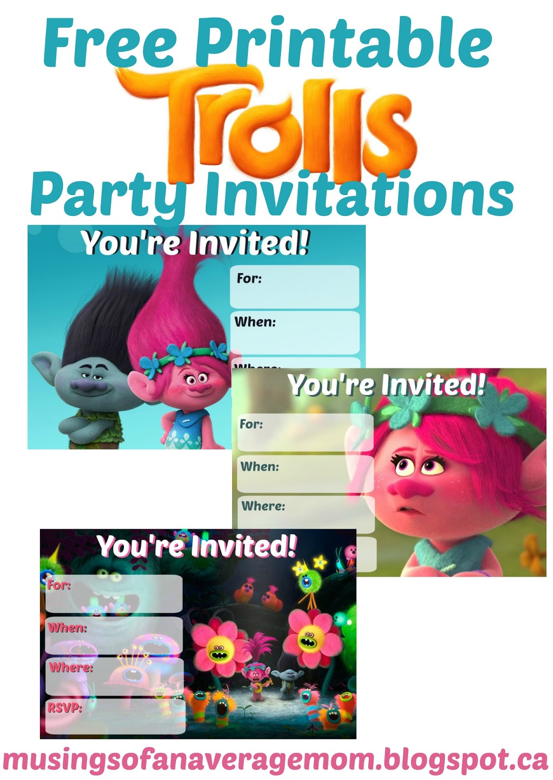 Bewitching image within trolls printable invitations