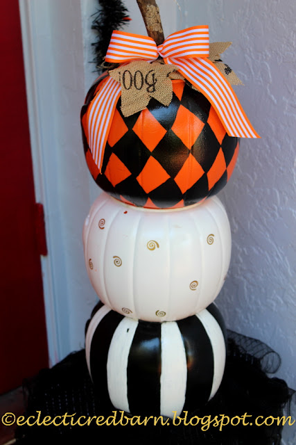 Eclectic Red Barn:  Halloween stacked pumpkins made from cheap plastic ones