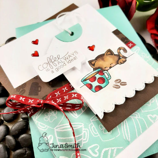 Coffee is Always a Good Idea Card by Tina Smith | Newton Loves Coffee Stamp Set, Fancy Edges Tag Die Set and Speech Bubbles Die Set by Newton's Nook Designs #newtonsnook #handmade