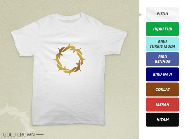 Preview desain kaos Kristen mahkota duri emas di kain warna putih