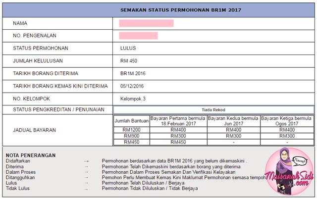 Akhirnya Status Permohonan BR1M bertukar kepada LULUS