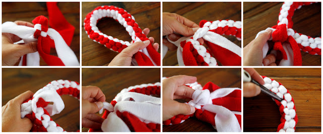 Step-by-step how to make an O (hug) Valentine dog tug toy
