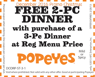 Popeyes Chicken coupons december