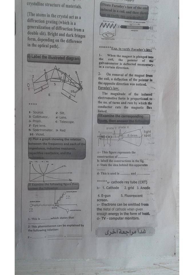 بالاجابات 100 سؤال فيزياء باللغة الانجليزية لن يخرج امتحان الثانوية العامة لغات 8