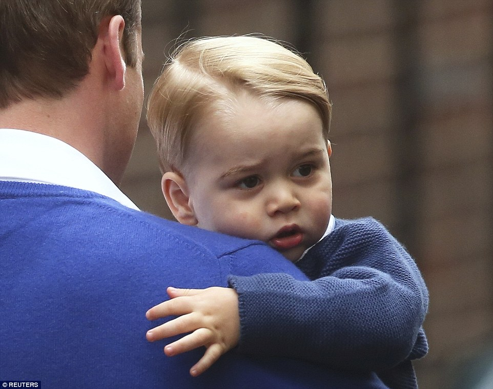 Prince George arrives to meet new born Princess sister