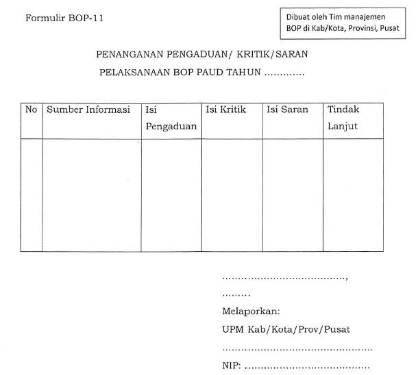 Format Isian Bop 11 Lembar Penanganan Pengaduan Kritik Saran Pelaksanaan Bop Paud Blog Om Jhon