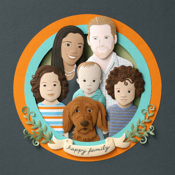 hand cut and sculpted paper family consisting of parents, three children, and dog in round frame