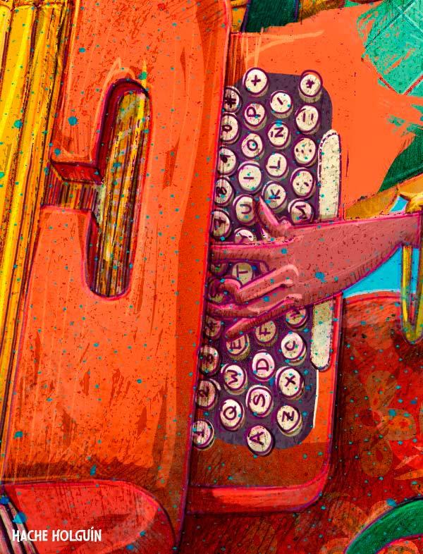 Ilustración. Cumbierita intelectual, ilustración para la revista Libros y Letras por Hache Holguín