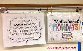 Classroom organization: Love using magnetic curtain rod to hang bell-ringers.  www.traceeorman.com