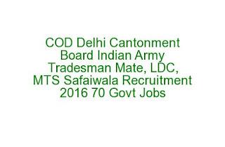 COD Delhi Cantonment Board Indian Army Tradesman Mate, LDC, MTS Safaiwala Recruitment 2016 70 Govt Jobs