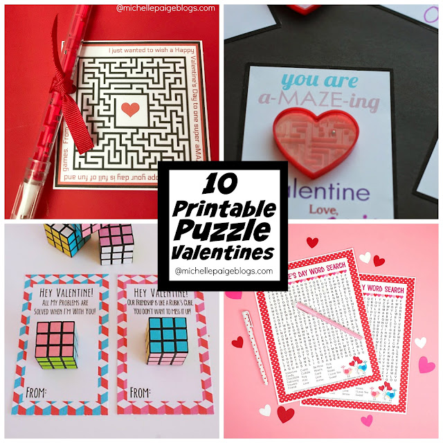 10 Printable Puzzle Valentines  @michellepaigeblogs.com