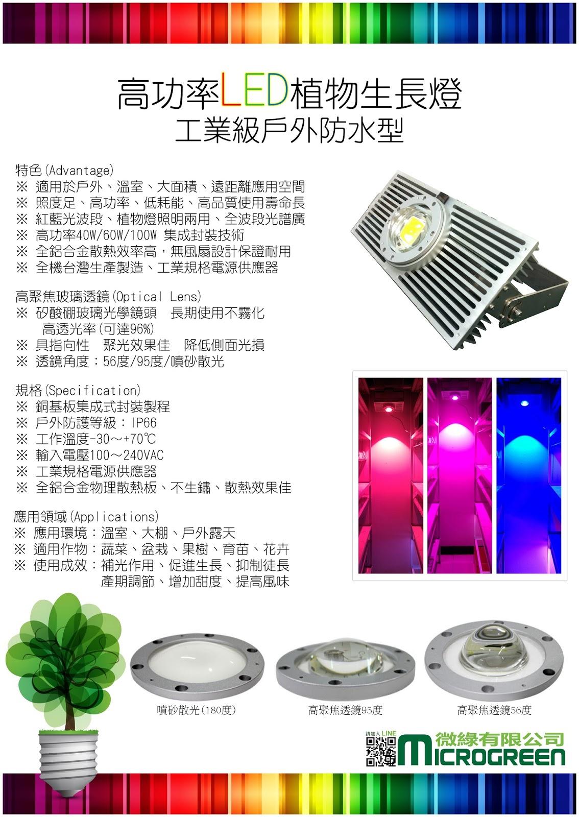 [特性篇] 高功率LED植物生長燈 (工業等級,戶外型,防水防塵,臺灣生產製造) | 農業最佳處方籤