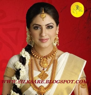 kerala wedding beauty saree with plain necklace set