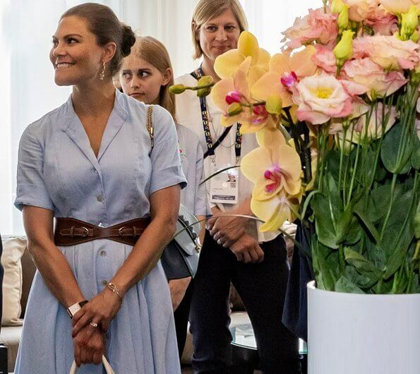 Crown Princess Victoria dressed in Camilla Thulin Design spring summer SS18 collection at International Olympic Committee